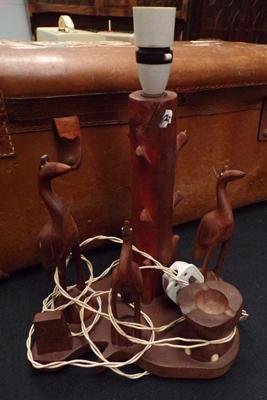 Wood lamp base featuring birds & ashtray - as seen