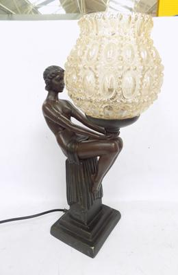 Reproduction lamp depicting 'girl on a pillar' - W/O