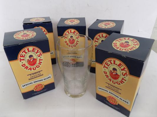 Six Limited Edition Tetley draught glasses, 1985/86, South Africa, England, Winter Tour