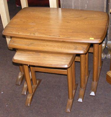 Vintage set of three Ercol nesting tables