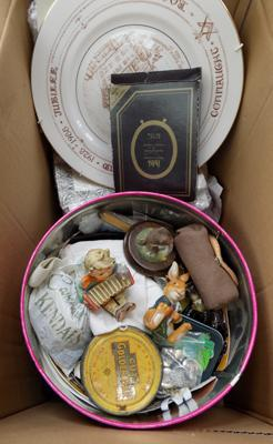 Box of mixed collectables, incl. plates, sewing items, figures etc...