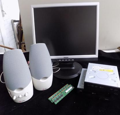 Computer monitor, speakers, DVD drives x 2, Hyrix PC2 memory