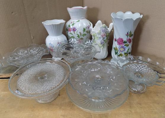 Selection of glass cake stands & large vases