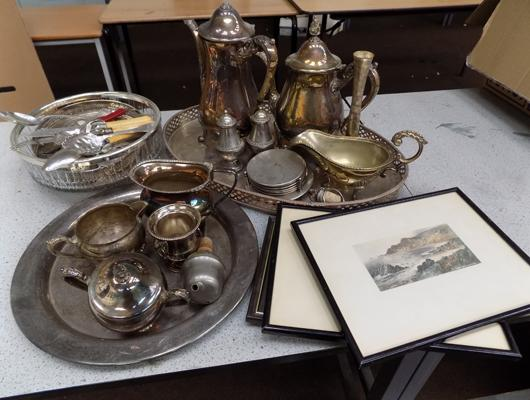 Mixed box of collectables, incl. silver plate tea & coffee