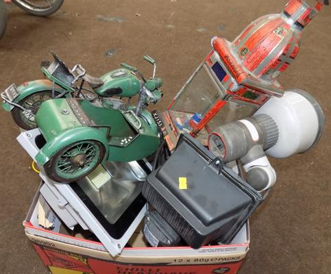 Box of miscellaneous security lamps, tin motorbike sidecar etc...
