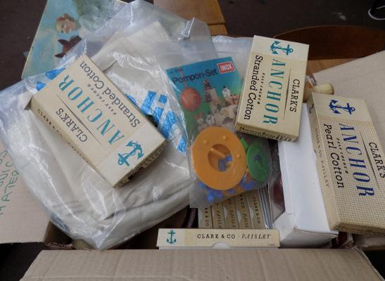 Large box of vintage craft items