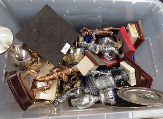 Box of miscellaneous trophies (Rugby, Golf etc...), could be re-usable for prizes