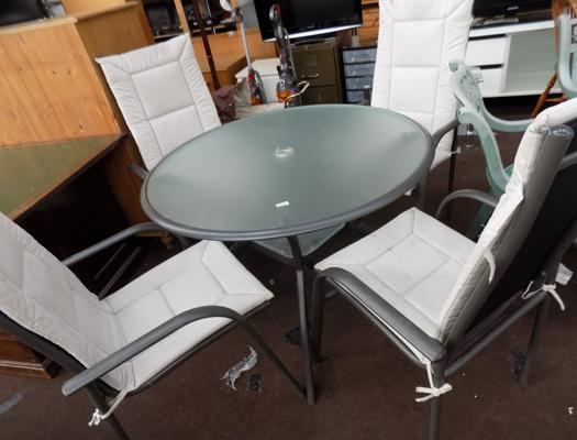 Glass top garden table & 4 chairs