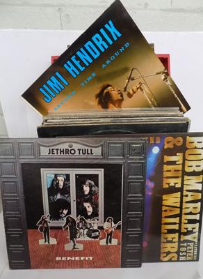 Box of LPs, incl. Jethro Tull, Hendrix, The Who, Sex Pistols etc...