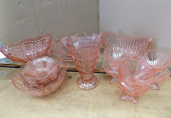 Assortment of rose tinted glass