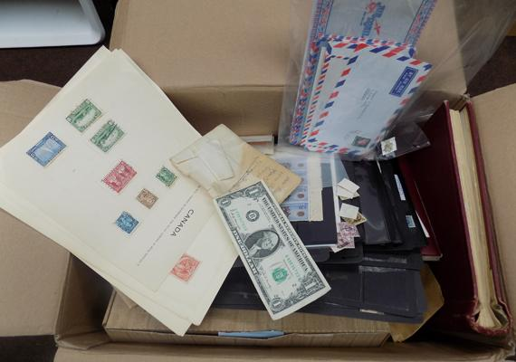Large box of stamp albums etc...