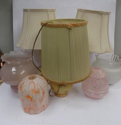Pair of Wedgwood lamps + 1 other lamp and glass lamp shades