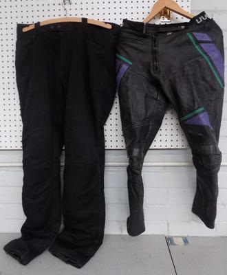 2 pairs of motorcycling trousers - 1 leather (size 58 euro) and 1 cordura (size 50 euro)