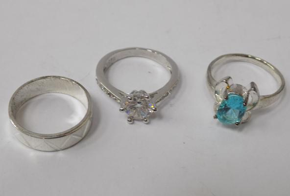 Three 925 silver rings - all approx. size L