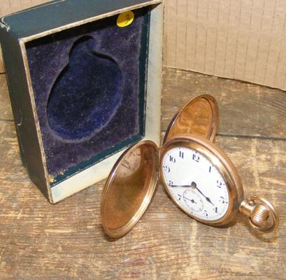 Antique full hunter gold plated pocket watch in working order