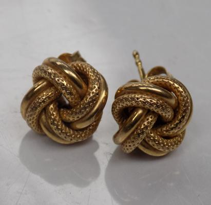 Pair of 9ct gold earrings-Celtic knot studs