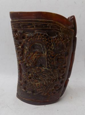 Oriental hand carved Ox bone hunting cup