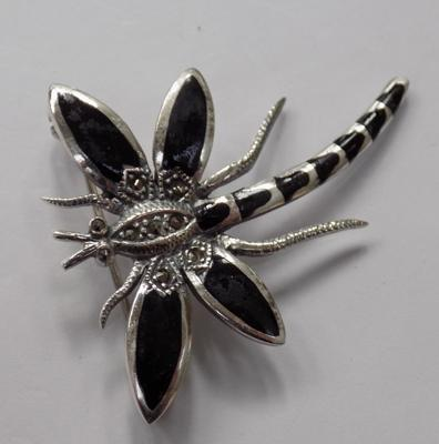 Silver jet & marcasite dragonfly brooch