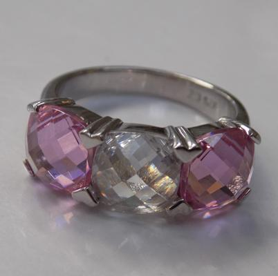 Quality silver pink & white stone trilogy ring