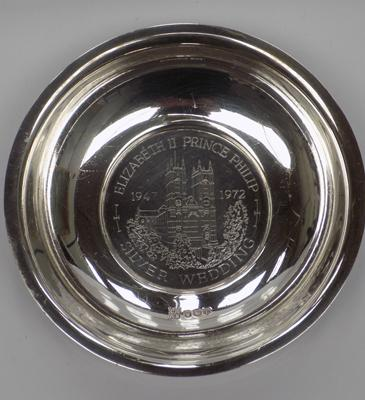 Silver pin dish-Queen's silver wedding-Sheffield