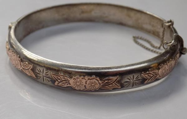 Victorian style gold on silver excalibur bangle-full hallmark
