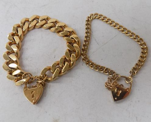 Two gold plated bracelets