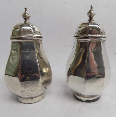Pair of silver pepper pots
