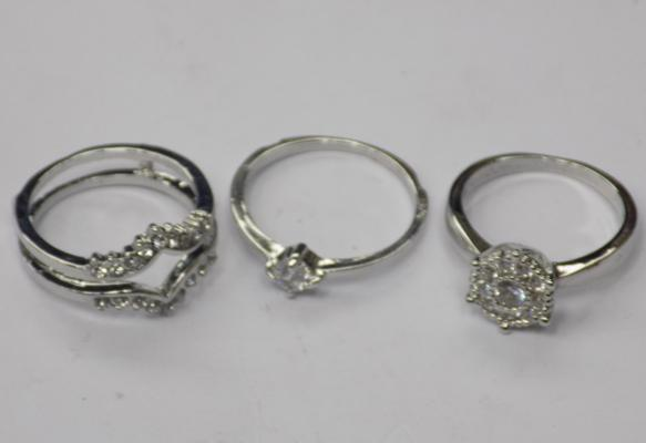 3 x 925 Silver rings approx size M