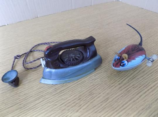 Vintage clockwork tinplate mouse, No. 05/101 + DCMT Ltd. toys, 1950's Hoover toy iron - complete