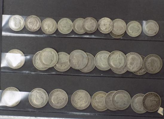 Pre 1947 George V coins - 11 x 6d, 21 x 1 shilling