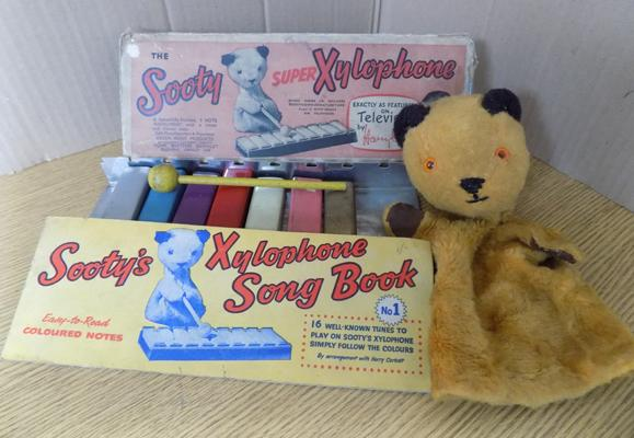 Vintage 1960's boxed Sooty Super Xylophone, complete with hammer + Chad valley 1950's Sooty