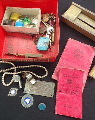 Box of collectables inc football rattle, sign, badges & whistle