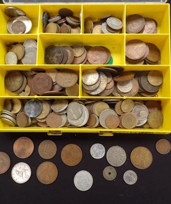 Box of coins inc foreign & pre decimalisation