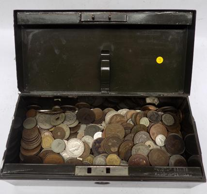 Old coins in metal cash box