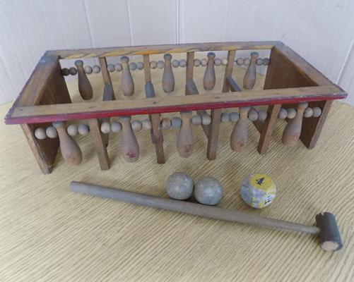 Toy 1930's antique wood framed skittles/bowling game with original balls & hammer