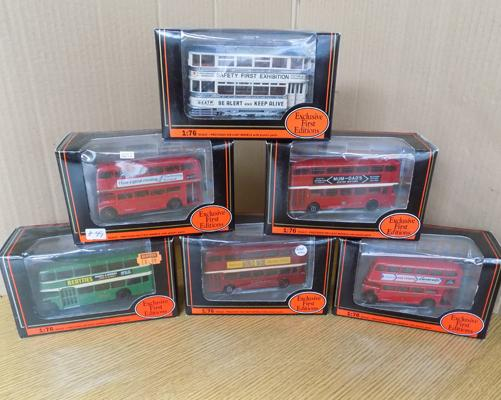 Six exclusive First Editions, buses, boxed