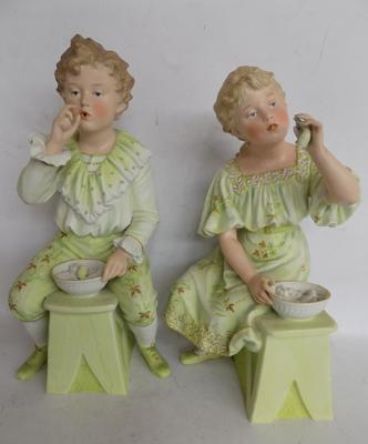 2x Large German bisque child figures (pipes broken on both)