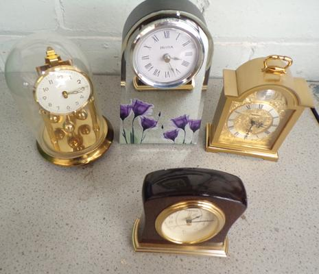 4 x Assorted mantle clocks (battery/manual)