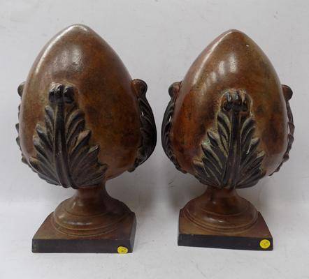 Pair of cast metal architectural style book ends