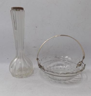 Two silver topped Victorian glass items