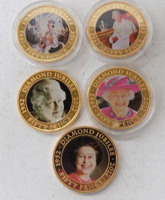 Five Royal themed coins