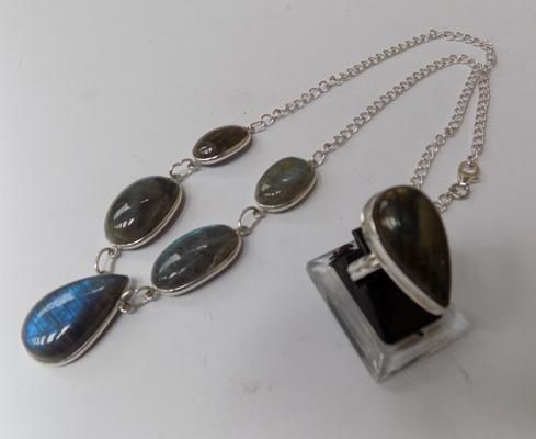 Moonstone pendant on 925 silver chain & 925 silver moonstone ring