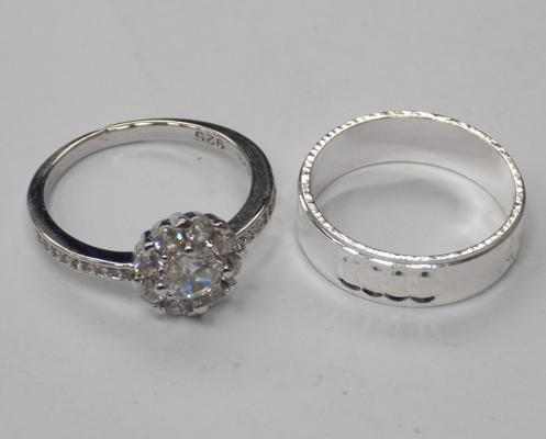 2x 925 Silver rings-approx size L