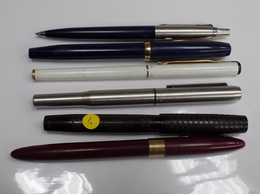 Selection of fountain pens + ball points, 4 x 14ct gold nibs (Sheaffer, Waterman, Parker, Swan)