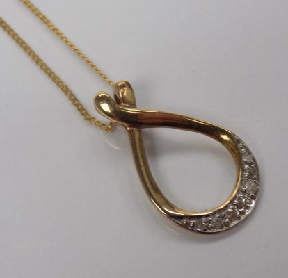 9ct Gold chain with 9ct gold & diamond pendant
