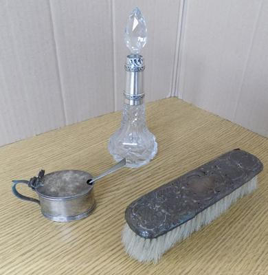 Three hallmarked silver items - perfume bottle, silver topped brush + lidded pot & spoon, circa 1900's