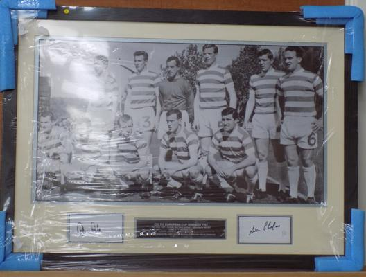 Signed photo of Celtic European cup winning team 1967 - signed by John Clark and Stevie Chalmers - with COA