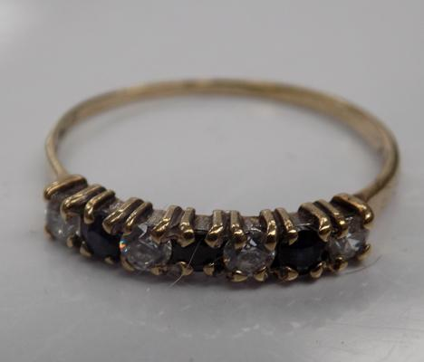 9ct Gold sapphire 1/4 eternity ring size N