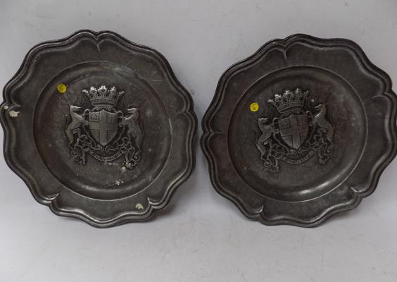 Pair of Heraldic Pewter chargers
