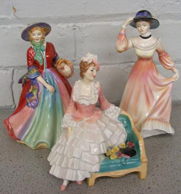 3x Figurines-Royal Doulton, Staffordshire & Paragon-no damage found